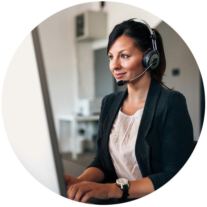 female customer service representative working on computer
